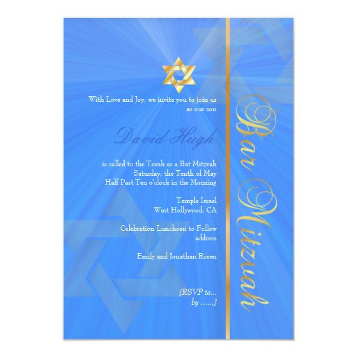 Bar Mitzvah/blue/gold 5x7 Paper Invitation Card