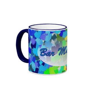 Bar Mitzvah Blue Green Abstract Art Ringer Mug