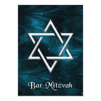 Bar Mitzvah Blue Nebulae & Silver Star of David Card