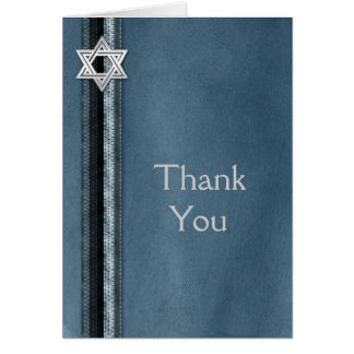 Bar Mitzvah Blue Striped Thank You Stationery Note Card