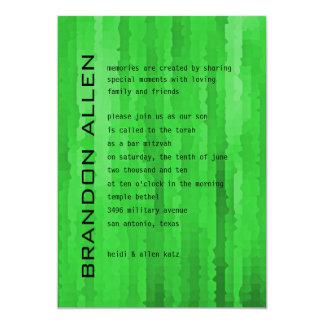 Bar Mitzvah Bright Green Techno Streaks Card