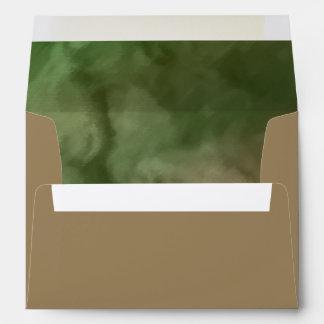 Bar Mitzvah Brown and Green Marbled Envelope