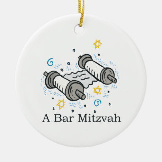 Bar Mitzvah Double-Sided Ceramic Round Christmas Ornament