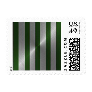 Bar Mitzvah Emerald and Silver Stripe Postage Stamps