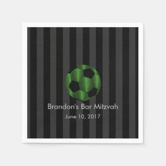 Bar Mitzvah Emerald Green and Black Soccer Ball Paper Napkin