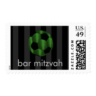 Bar Mitzvah Emerald Green and Black Soccer Ball Postage