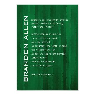Bar Mitzvah Emerald Green Techno Streaks Card