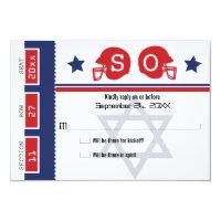 Bar Mitzvah Football Ticket RSVP Card