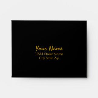 Bar Mitzvah Gold and Black Horizontal Stripes Envelope