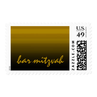 Bar Mitzvah Gold and Black Horizontal Stripes Postage