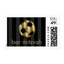 Bar Mitzvah Gold and Black Soccer Ball Postage