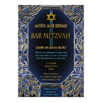 Bar Mitzvah Gold and Blue Card