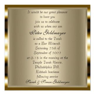 Bar Mitzvah Gold ceremony Invitation 2