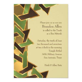 Bar Mitzvah Gold Green Brown Star of David Card