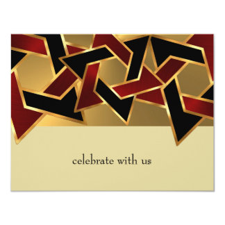 Bar Mitzvah Gold Red Black Star of David Card