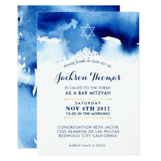 BAR MITZVAH gold stylish blue watercolor invite