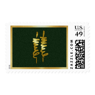 Bar Mitzvah Gold Torah Scrolls on Any Color Postage Stamp