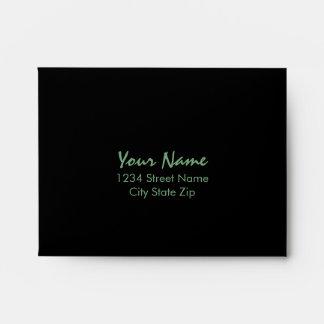 Bar Mitzvah Green and Black Horizontal Stripes Envelope