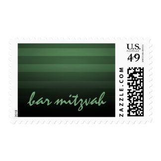 Bar Mitzvah Green and Black Horizontal Stripes Postage