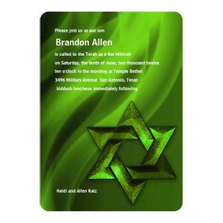 Bar Mitzvah Green Star of David Card