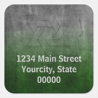 Bar Mitzvah Grunge Green Return Address Seal Square Sticker