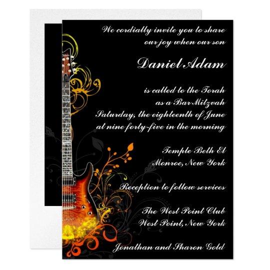 Bar Mitzvah Guitar Invitation