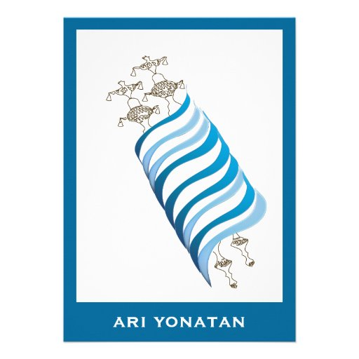 Bar Mitzvah Invitation Ari Yonatan Torah Blue
