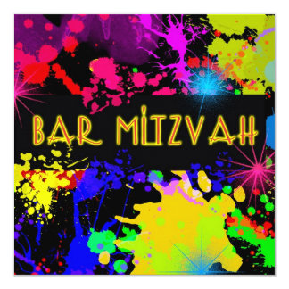 Bar Mitzvah Invitation Colorful Paint Splatter Personalized Invite