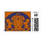 Bar Mitzvah Invitation Copper Navy Postage Stamps