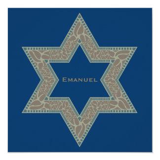 Bar Mitzvah Invitation Emanuel Star David Gold