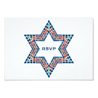 "Bar Mitzvah Invitation Emanuel Star David Mosaic 3.5"" X 5"" Invitation Card"