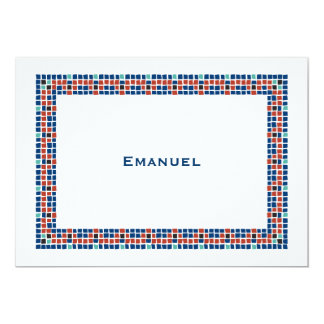"Bar Mitzvah Invitation Emanuel Star David Mosaic 5"" X 7"" Invitation Card"