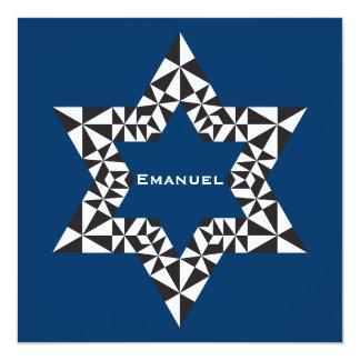 Bar Mitzvah Invitation Emanuel Star David Navy