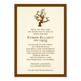Bar Mitzvah Invitation Ethan Tree Hebrew