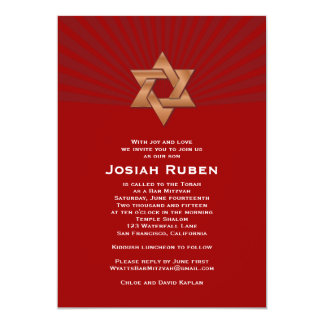 Bar Mitzvah Invitation Josiah Gold Red Jewish Star