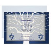 Bar Mitzvah Invitation Navy Tree of Live
