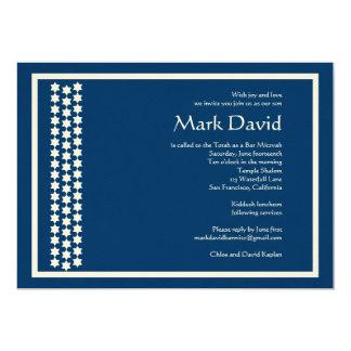 Bar Mitzvah Invitation Star David TEXTURED Navy