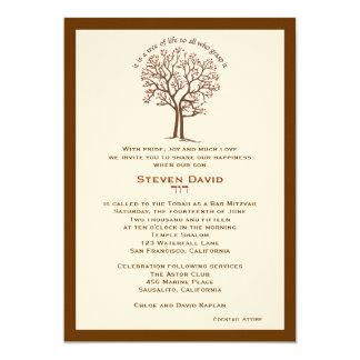 Bar Mitzvah Invitation Steven Tree of Life Brown