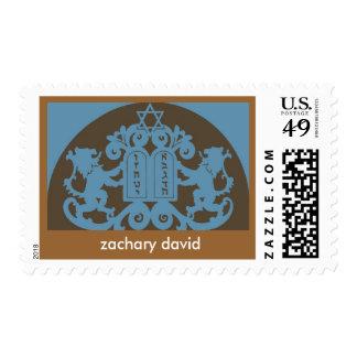 Bar Mitzvah Invitation Ten Commandments, Brown Stamps
