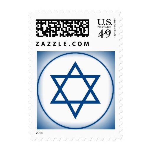 Bar Mitzvah Invitation Torah in Blue Postage Stamp