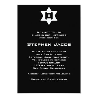 Bar Mitzvah Invitation Torah Jewish Star Black