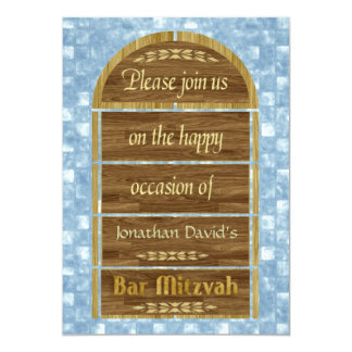 Bar Mitzvah Invitation, Wood Panels, Blue Pattern Card