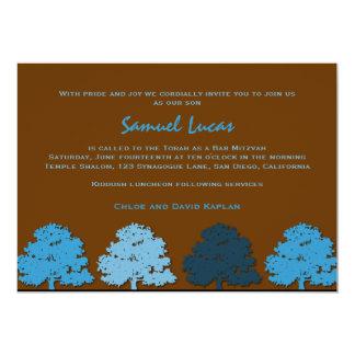 Bar Mitzvah Invitations Samuel Lucas Blue Trees