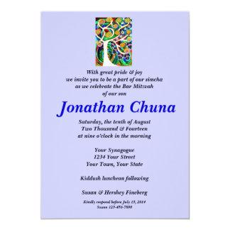 Bar Mitzvah - Judaica Hamsa Ivory Tree Of Life 5x7 Paper Invitation Card
