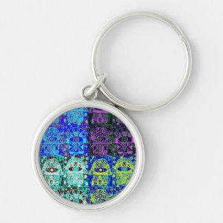 Bar Mitzvah 'KeyChain GiveAway' : Hamsa Silver-Colored Round Keychain