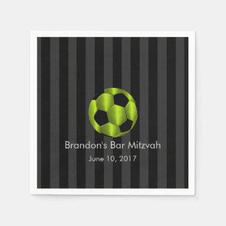Bar Mitzvah Lime Green and Black Soccer Ball Napkin