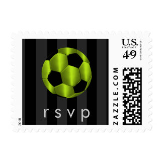 Bar Mitzvah Lime Green and Black Soccer Ball Postage