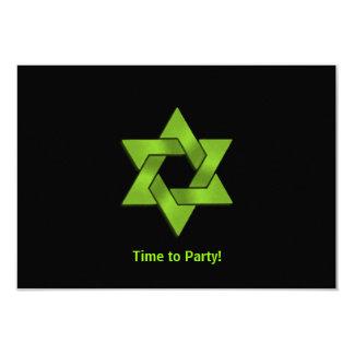 Bar Mitzvah Lime Green Black Star of David Party Card