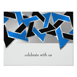 Bar Mitzvah Metallic Look Star of David RSVP Invitation