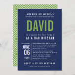 """BAR MITZVAH modern bold block type navy blue green Invitation<br><div class=""""desc"""">by kat massard >>> WWW.SIMPLYSWEETPAPERIE.COM <<< - - - - - - - - - - - - CONTACT ME to help with balancing your type perfectly Love the design, but would like to see some changes - another color scheme, product, add a photo or adapted for a different occasion...</div>"""
